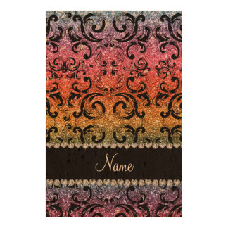 Personalized name black rainbow glitter damask queork photo print
