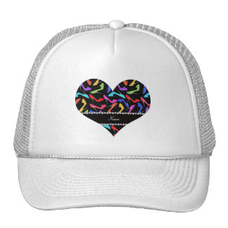 Personalized name black rainbow leopard high heels cap