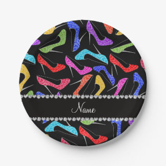 Personalized name black rainbow leopard high heels paper plate