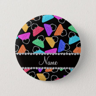 Personalized name black rainbow leopard purses 6 cm round badge