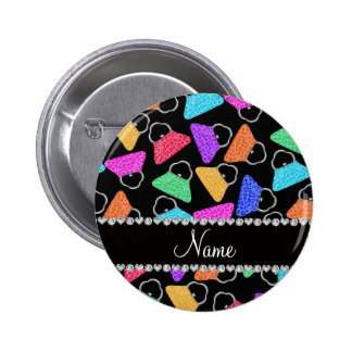 Personalized name black rainbow leopard purses 2 inch round button