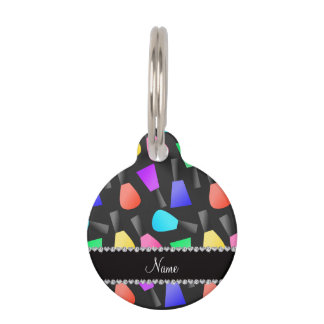 Personalized name black rainbow nail polish pet name tag