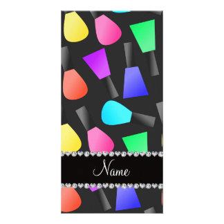 Personalized name black rainbow nail polish photo card