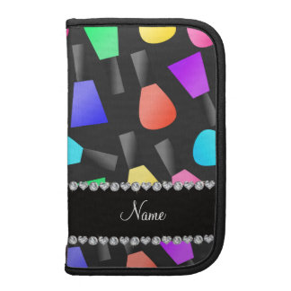 Personalized name black rainbow nail polish planners