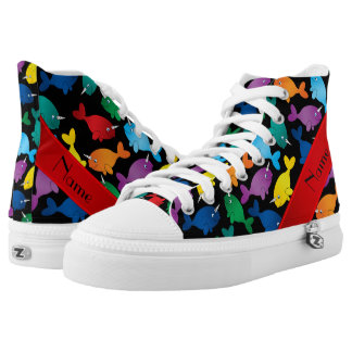 Personalized name black rainbow narwhals high tops