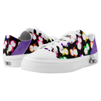 Personalized name black rainbow penguins low tops