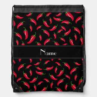 Personalized name black red chili pepper drawstring bag