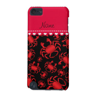 Personalized name black red crab pattern iPod touch 5G case