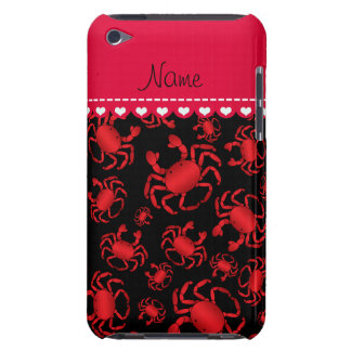 Personalized name black red crab pattern iPod touch cases