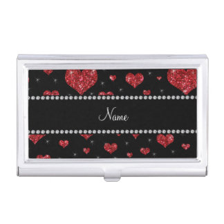 Personalized name black red glitter hearts business card holder