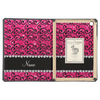 Personalized name black rose pink glitter swirls cover for iPad air
