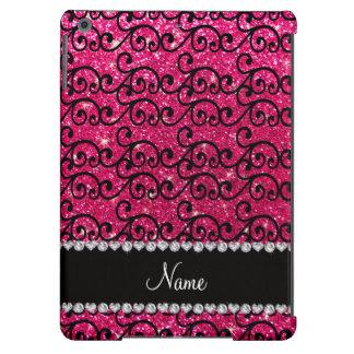 Personalized name black rose pink glitter swirls iPad air case
