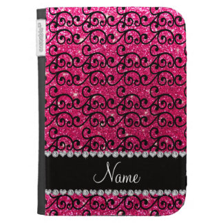 Personalized name black rose pink glitter swirls kindle folio case