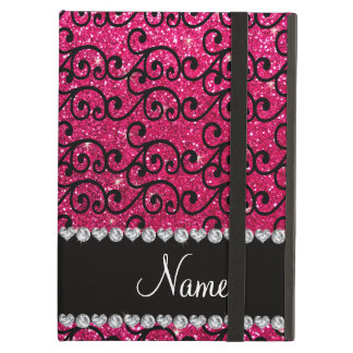 Personalized name black rose pink glitter swirls case for iPad air