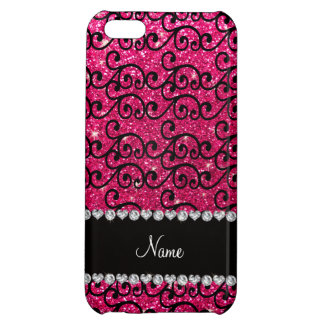 Personalized name black rose pink glitter swirls iPhone 5C covers