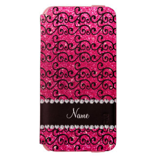 Personalized name black rose pink glitter swirls incipio watson™ iPhone 6 wallet case