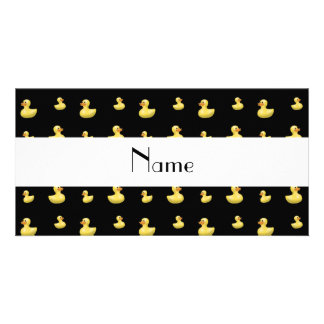 Personalized name black rubber duck pattern customized photo card