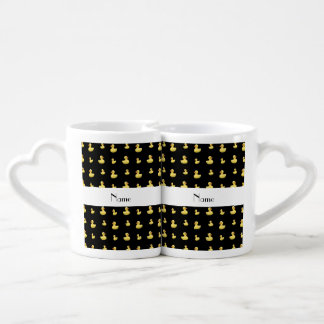 Personalized name black rubber duck pattern lovers mugs