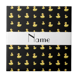 Personalized name black rubber duck pattern small square tile