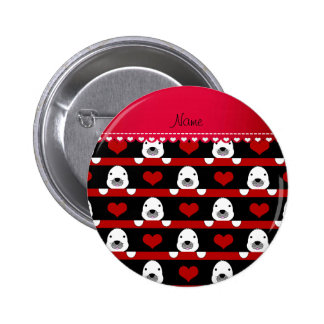Personalized name black seals red hearts stripes 6 cm round badge