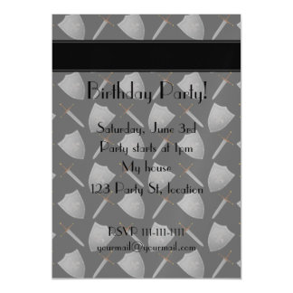 Personalized name black shields and swords magnetic invitations