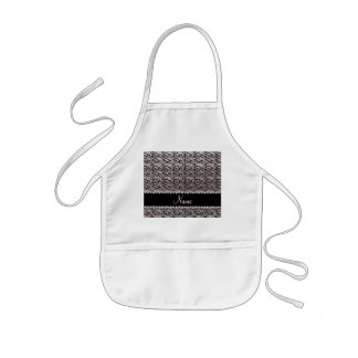 Personalized name black silver glitter swirls aprons
