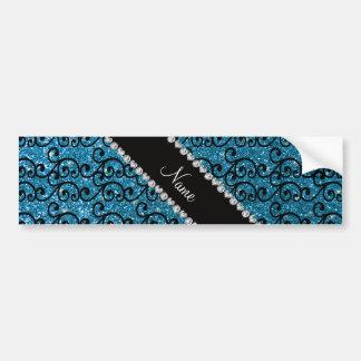 Personalized name black sky blue glitter swirls bumper stickers