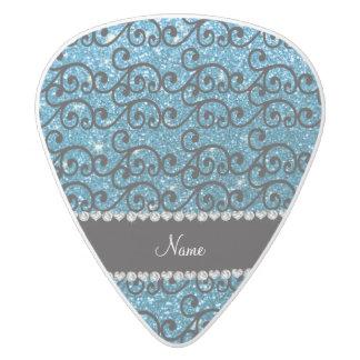 Personalized name black sky blue glitter swirls white delrin guitar pick