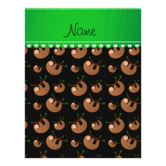 Personalized name black sloth pattern 21.5 cm x 28 cm flyer