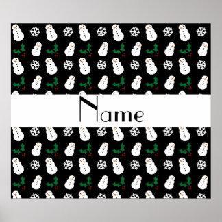 Personalized name black snowman christmas print