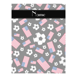 Personalized name black soccer american flag 21.5 cm x 28 cm flyer