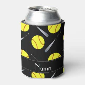 Personalized name black softball pattern can cooler