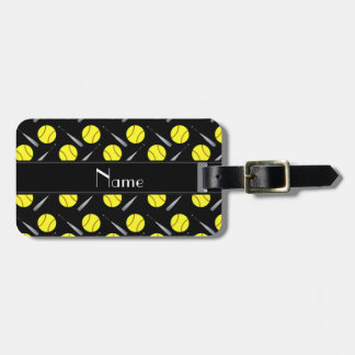 Personalized name black softball pattern luggage tag