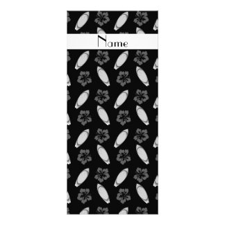 Personalized name black surfboard pattern rack card template