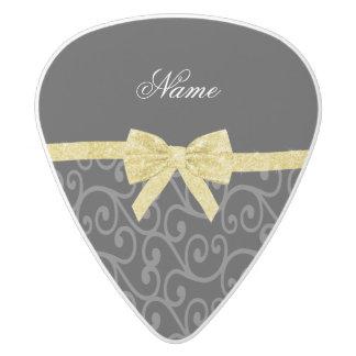 Personalized name black swirls gold glitter bow white delrin guitar pick