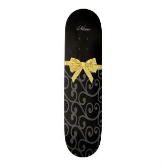 Personalized name black swirls gold glitter bow custom skateboard