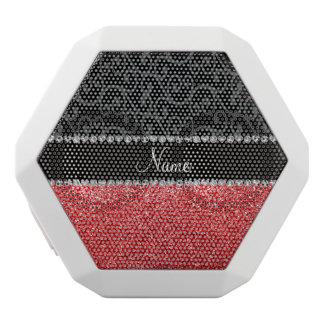 Personalized name black swirls red glitter white boombot rex bluetooth speaker