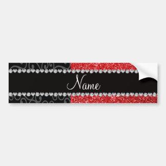 Personalized name black swirls red glitter bumper stickers