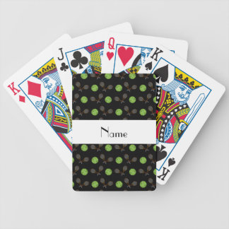 Personalized name black tennis balls bicycle playing cards