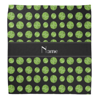 Personalized name black tennis balls pattern bandana