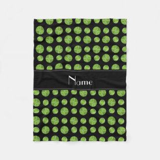 Personalized name black tennis balls pattern fleece blanket