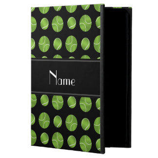 Personalized name black tennis balls pattern iPad air cases