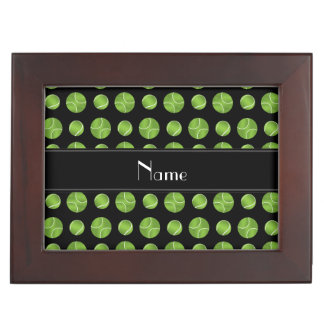Personalized name black tennis balls pattern keepsake box