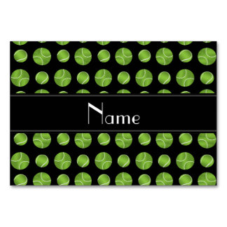 Personalized name black tennis balls pattern table card