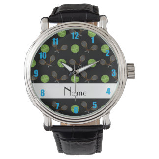 Personalized name black tennis balls watch