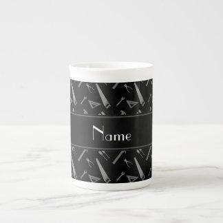Personalized name black tools pattern bone china mug