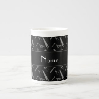 Personalized name black tools pattern tea cup