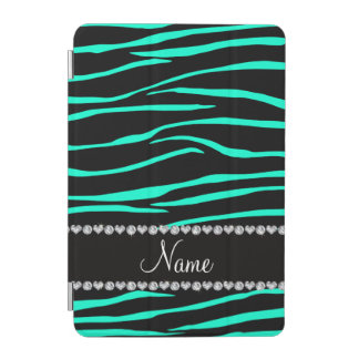 Personalized name black turquoise zebra stripes iPad mini cover