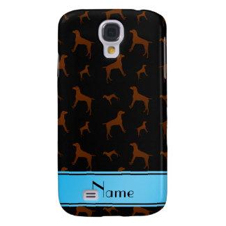 Personalized name black Vizsla dogs Galaxy S4 Case