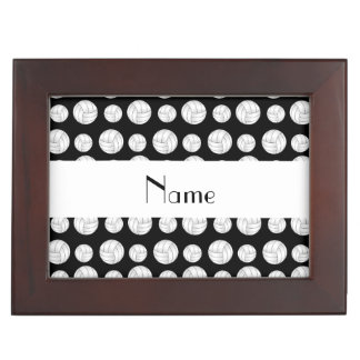 Personalized name black volleyball balls memory box